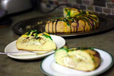 Apple-Goat Cheese King Cake, sliced