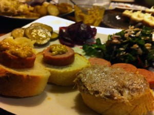 Rillettes, andouille, pickles, and kale salad at the meat party